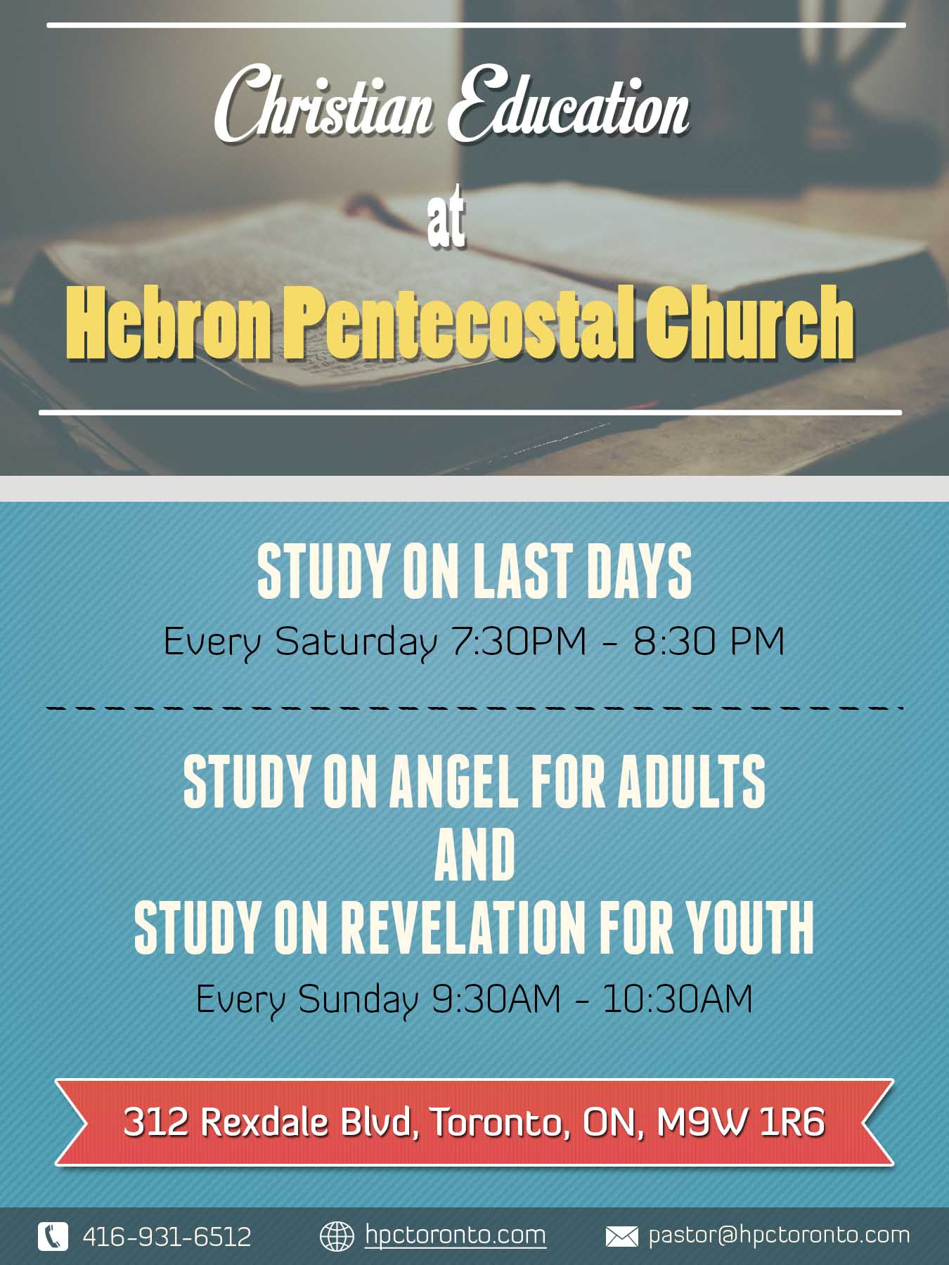 Bible study on last days – Hebron Pentecostal Church Toronto
